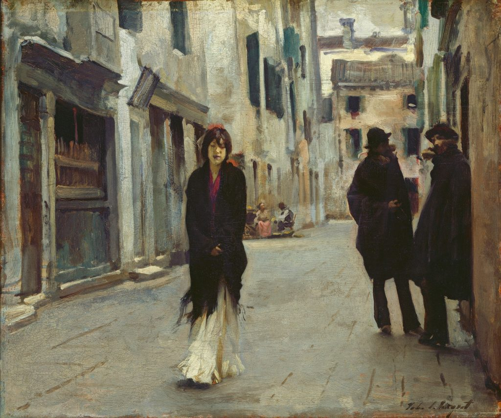 John Singer Sargent, Street in Venice, 1882, oil on wood